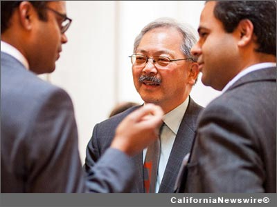 Mayor Edwin Lee (center), Jay Nath, Rahul Mewawalla