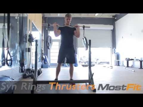SYN Rings Thrusters: Stability Squat Exercise with Overhead Press