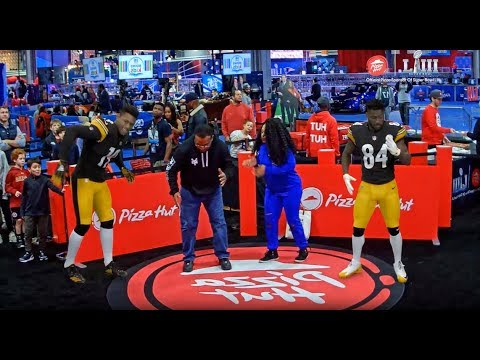 AR experience at Super Bowl LIII by INDE x Pizza Hut with Antonio Brown and JuJu Smith-Schuster